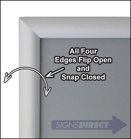 """11x17 Snap Frame Front Loading Silver 1/"""" Profile Safe Corners Wall Mounted"""