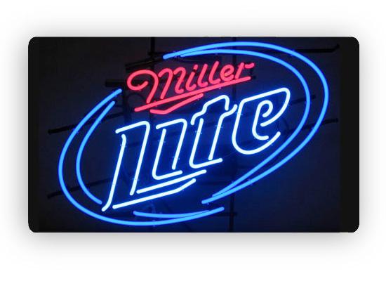m1006nc miller lite beer logo neon sign image 1. Black Bedroom Furniture Sets. Home Design Ideas