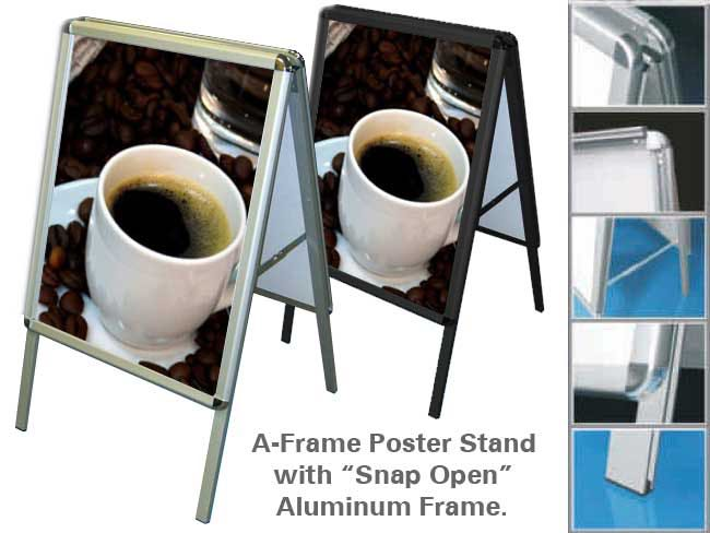 A-Frame Poster Holder - Aluminum indoor or outdoor use.